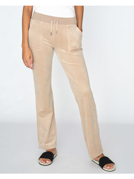 Juicy Couture Del Ray Classic Velour Pant Pocket D - Warm Taupe