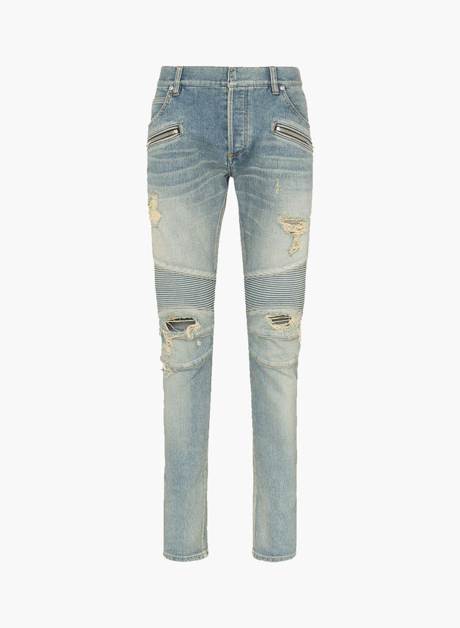 Balmain Destroyed Front Zipper Jeans