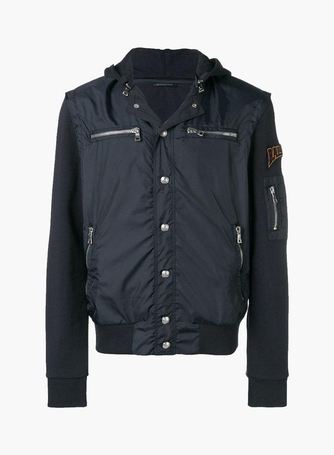Balmain Back Logo Sweat Sleeves Bomber Jacket