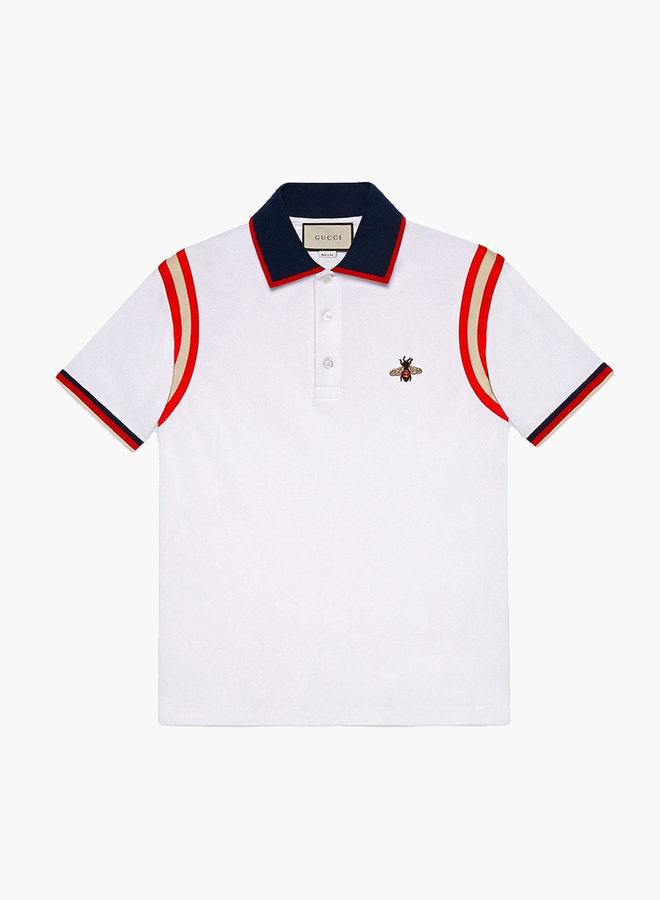 Gucci contrast shoulder bee polo