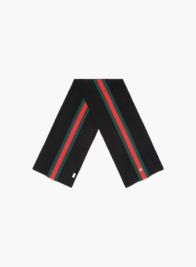 Gucci wool cashmere web scarf