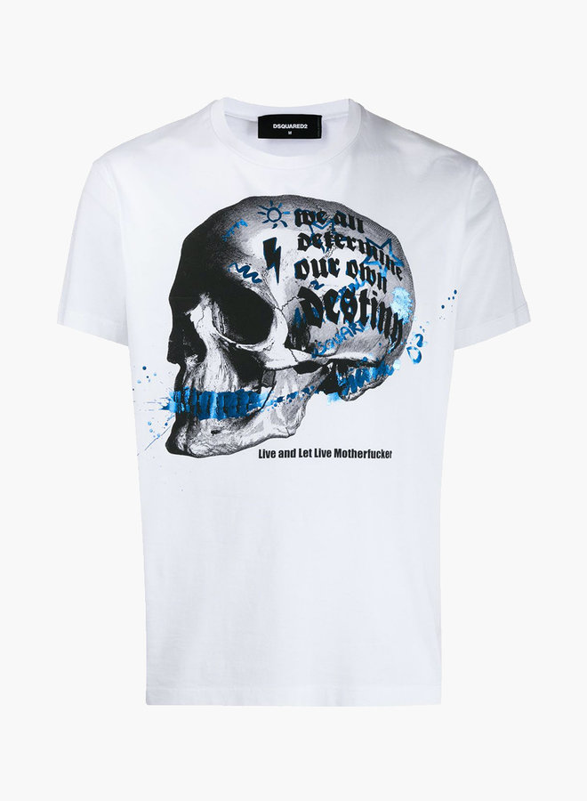 Dsquared2 Skull Blue Paint T-Shirt