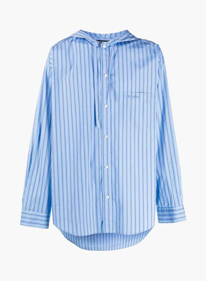 Balenciaga Hooded Drawstring Striped Shirt