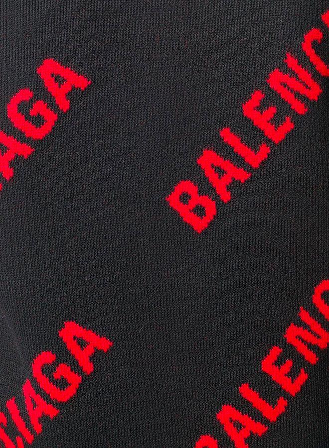 Balenciaga All-Over Logo Knitted Pullover