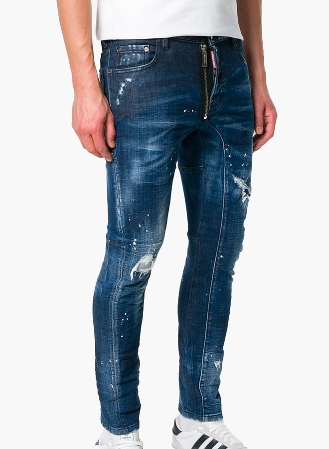 Dsquared2 Zipper Ripped Knee Tidy Biker Jeans