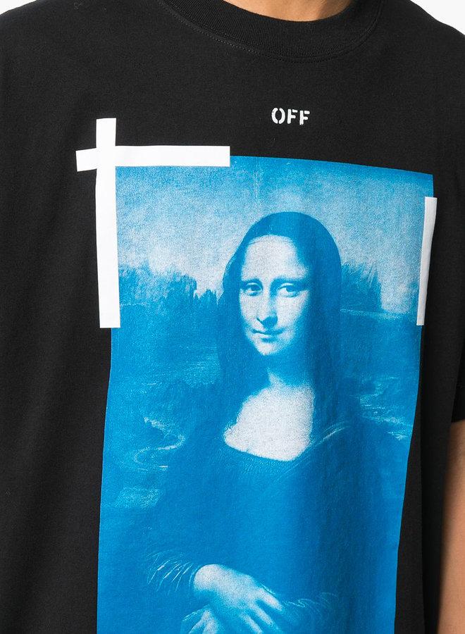 Off-White S/S Oversized Fit Blue Mona Lisa T-Shirt