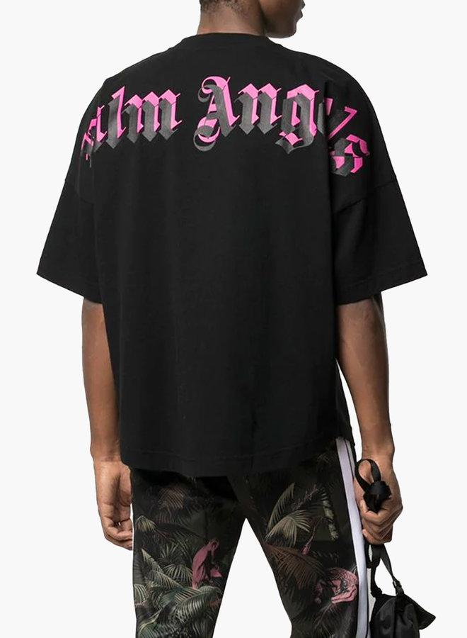 Palm Angels Oversized Mock Neck Double Logo T-Shirt