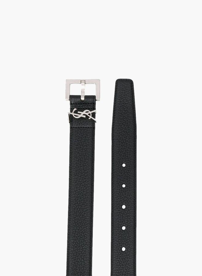 Saint Laurent Paris YSL Small Logo Leather Belt