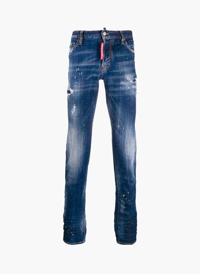 Dsquared2 Big Label Blue/Green Spots Slim Jeans
