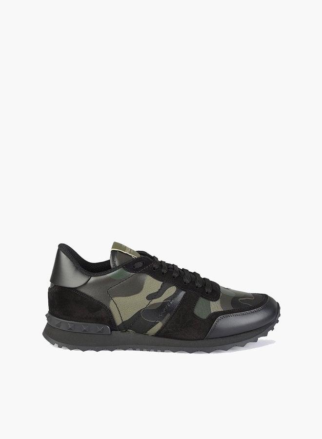 Valentino Dark Green Camouflage Rockrunner Sneaker