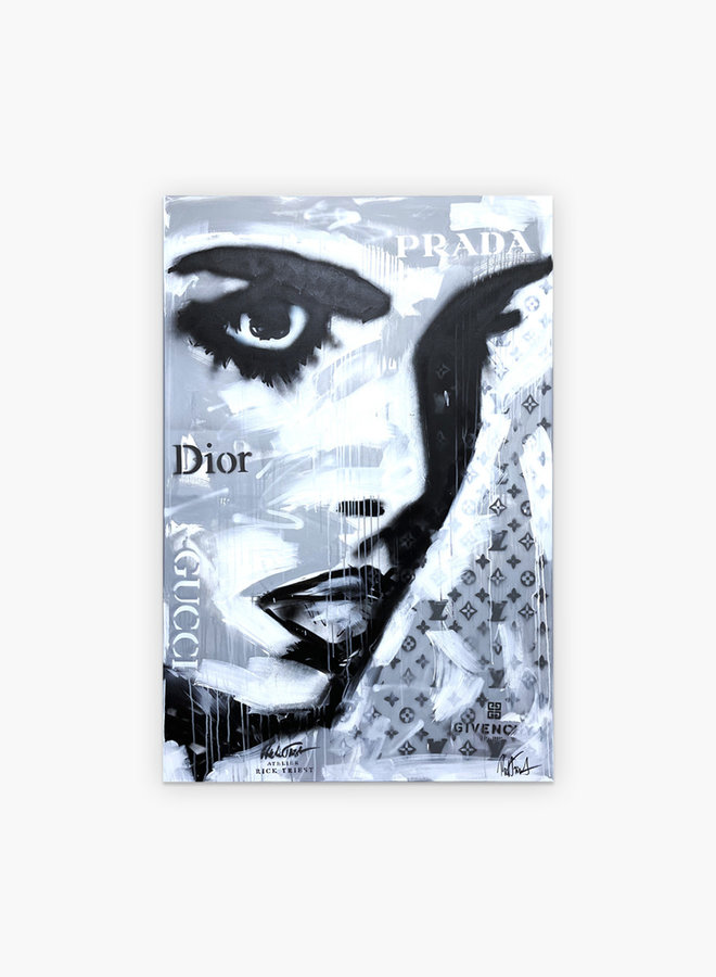 Rick Triest Woman Face Schilderij