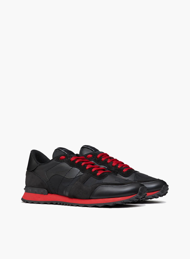 Valentino Camouflage Rockrunner Red Accent Sneaker