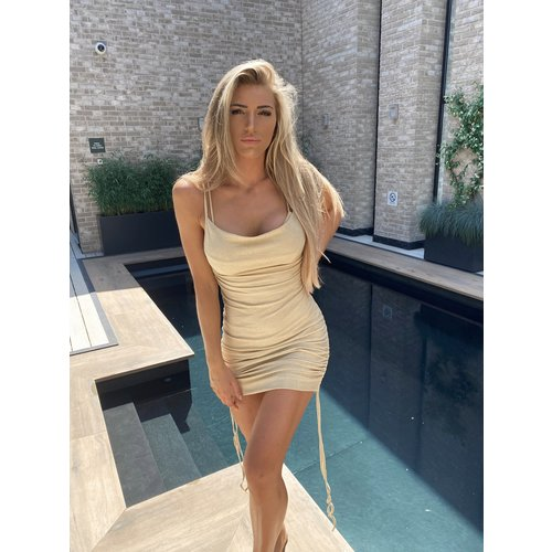 UNIQUE THE LABEL Kylie Dress Lurex Beige Gold