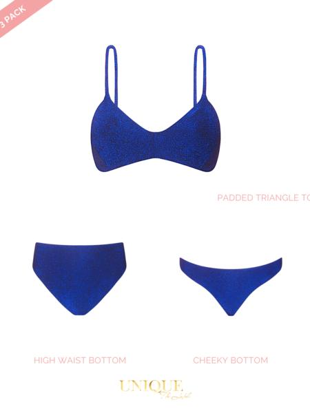 UNIQUE THE LABEL Sydney 3 Pack Lurex Blue