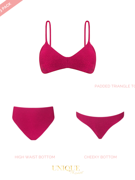 UNIQUE THE LABEL Sydney 3 Pack Lurex Hot Pink
