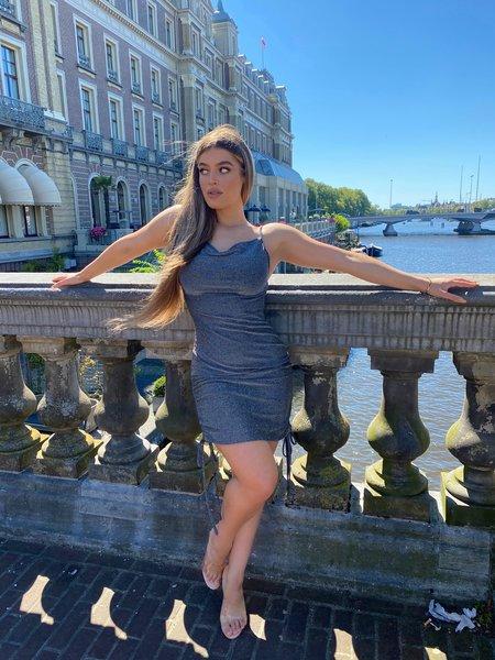 Kylie Dress Lurex Silver/Black