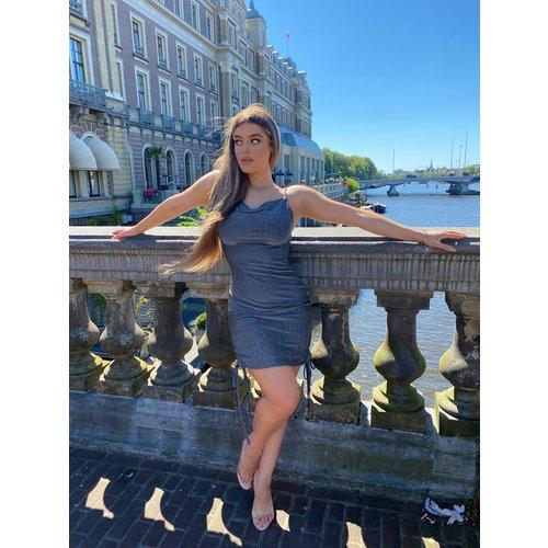 UNIQUE THE LABEL Kylie Dress Lurex Silver/Black