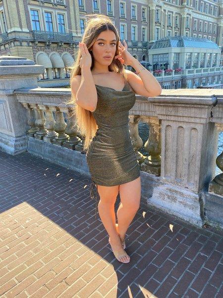 UNIQUE THE LABEL Kylie Dress Lurex Gold/Black