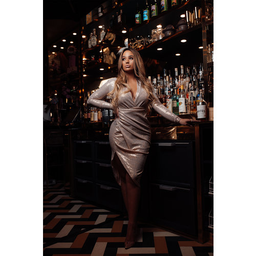 UNIQUE THE LABEL Faye Long Dress Pink Gold