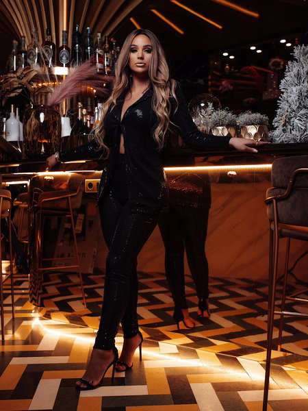 Harper Sequin Suit Black
