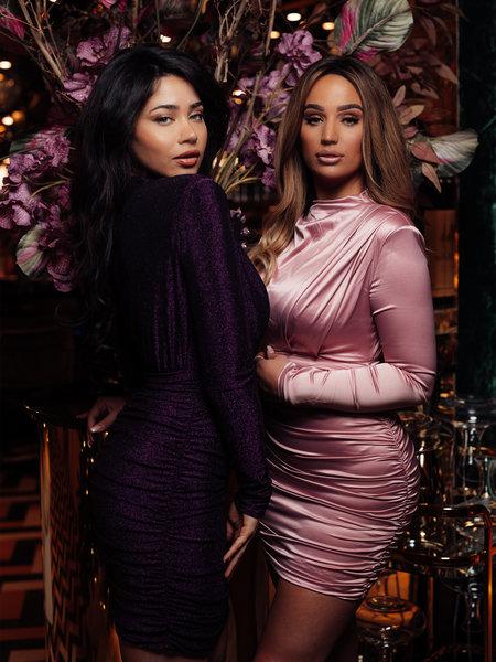 UNIQUE THE LABEL Holly Dress Satin Blush Dress