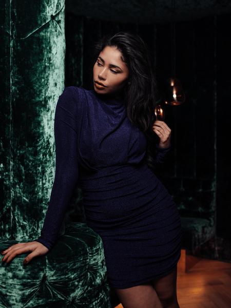 Holly Dress Lurex Dark Blue