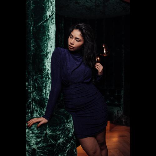 UNIQUE THE LABEL Holly Dress Lurex Dark Blue