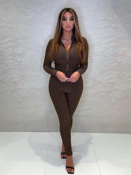 UNIQUE THE LABEL Olivia Zip Longsleeve Top - Chocolate
