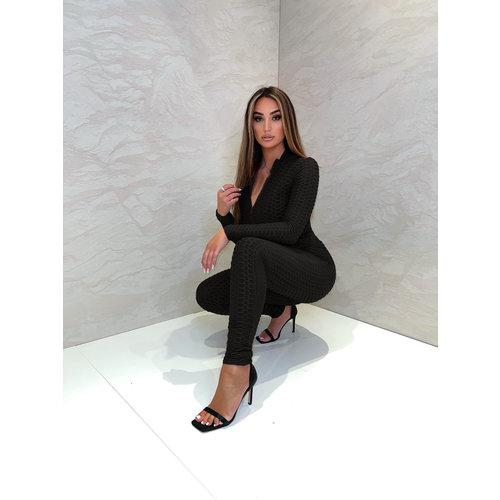 UNIQUE THE LABEL Olivia Zip Longsleeve Top - Black