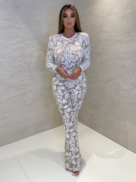 Avery Lace Jumpsuit White