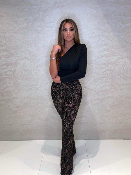 Avery Lace Pants Black