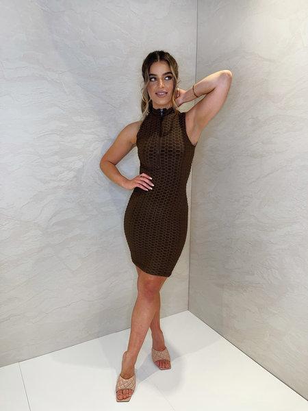 Olivia Zip Dress - Chocolate