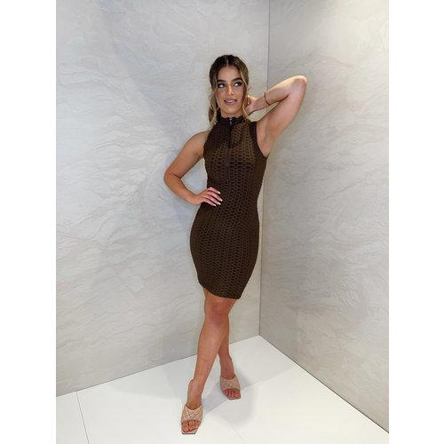 UNIQUE THE LABEL Olivia Zip Dress - Chocolate