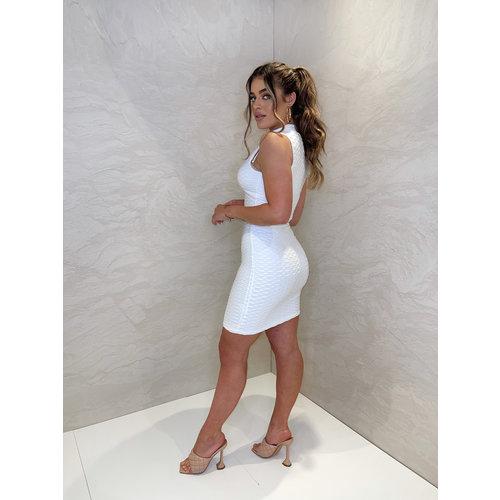 UNIQUE THE LABEL Olivia Zip Dress - Creme