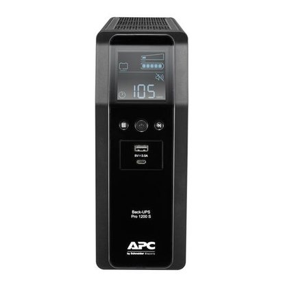 APC Back-UPS PRO BR1200SI - Noodstroomvoeding, 8x C13 uitgang, 2x USB lader (type A & C), 1200VA, USB dataport