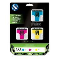 HP 363 3-pack Cyan/Magenta/Yellow Ink Cartridges Origineel Cyaan, Magenta, Geel 3 stuk(s)