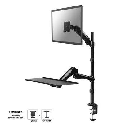 Newstar  Flatscreen Keyboard & Mouse Desk Mount (clamp) screen 1 Black 10-27i