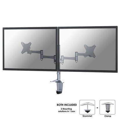 Newstar  Flatscreen Bureausteun Silver (klem)2x