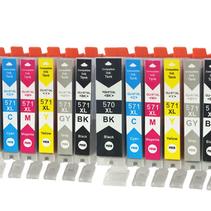 Canon 2x 570BK 571BK C M Y XL inkt Cartridge Incl. Chip Mega pack huismerk