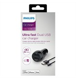 Philips DLP2357V 2 USB poort charger DC 5V 3.1A autolader oplader + Lightning kabel van Philips