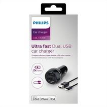 DLP2357 2 USB poort charger DC 5V 3.1A autolader oplader + Lightning kabel van Philips