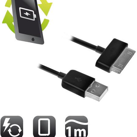 Ewent USB datavoor Samsung 30 pins, 1.0m Kabel - Zwart