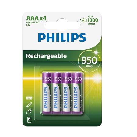 Philips R03B4A95 oplaadbare AAA batterijen 4 stuks