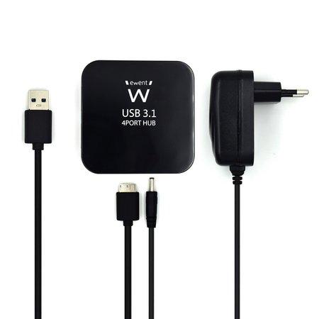 Ewent USB 3.1 Gen 1 (USB 3.0) Hub 4 port met adapter