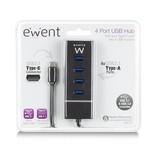 Ewent EW1137 USB C USB-C 3.1 Gen1 (USB 3.0) Hub 4 port