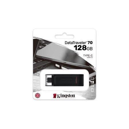Kingston DataTraveler 70 USBC flash drive 128GB USB Type-C 3 2 Gen 1 3 1 Gen 1 Zwart