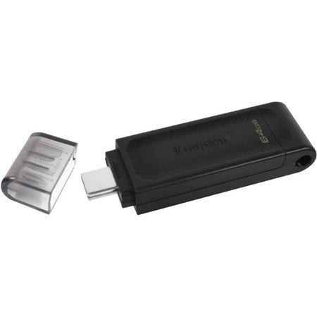 Kingston DataTraveler 70 USBC flash drive 64GB USB Type-C 3 2 Gen 1 3 1 Gen 1 Zwart