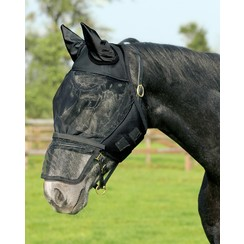 QHP Vliegenkap mit abnehmbarer Nasenklappe Schwarz