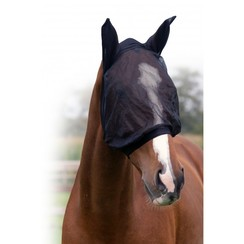 QHP Vliegenkap mit Ohren fein Schwarz