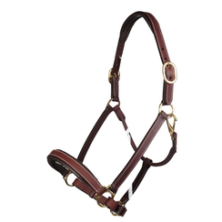 HKM Leather halter -Nature- soft padded (black)